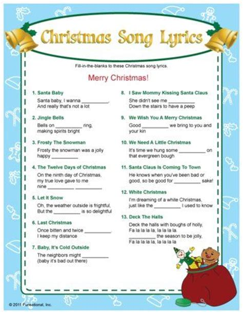 Christmas Song Lyrics Fillinthe Blanks Game I Bet This Would Bring Some Laughs