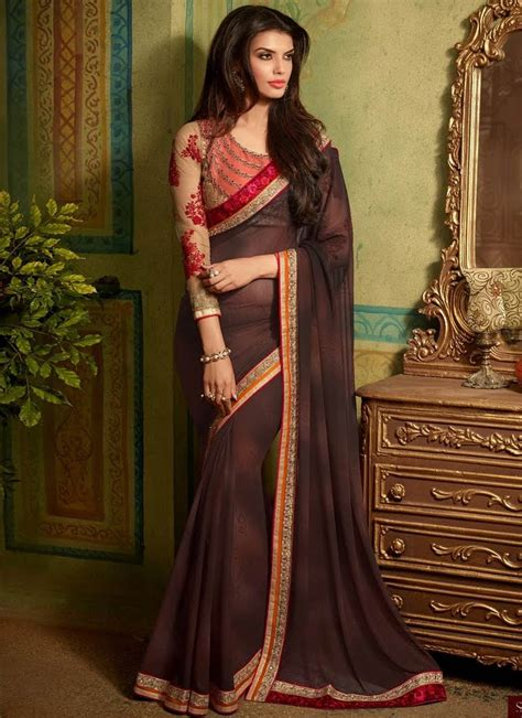 Used your suggestions and here is the look i tried to break the monotony of a mauve pink saree with a contrasting green blouse. Strange Coffee Brown Color Party Wear Saree