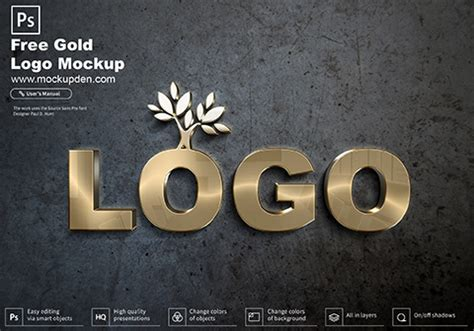 But they're neither free for use or hard to edit to suit your project needs. Free Gold Logo Mockup PSD Template | Mockup Den
