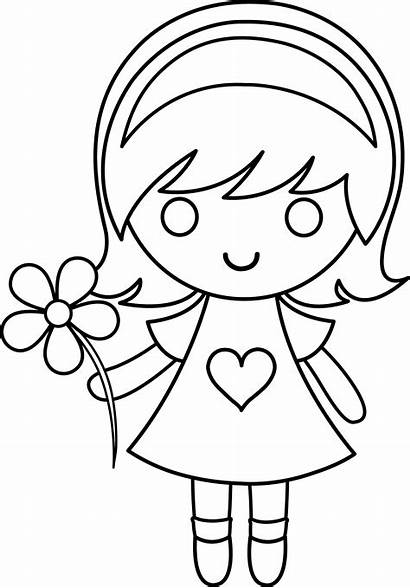 Daisy Clip Line Colorable Coloring Flower Lineart