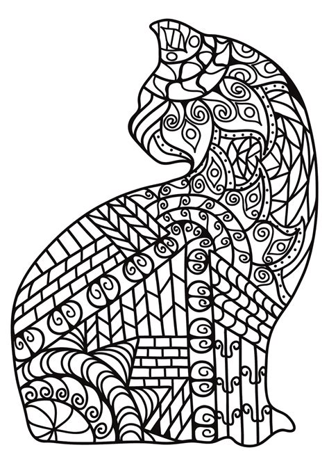 zentangle cats coloring pages getcoloringpagescom