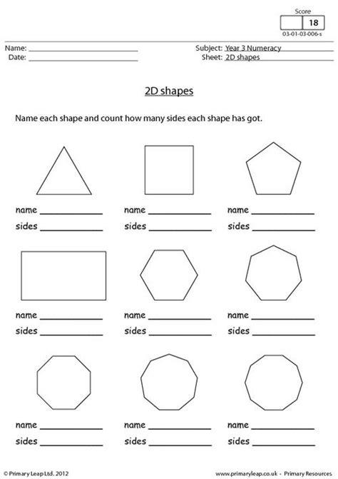 images  names  shapes worksheets