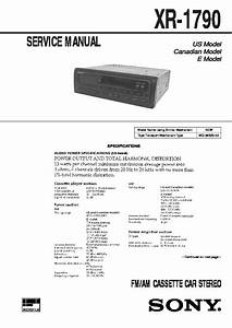 Sony Xr-1790 Service Manual