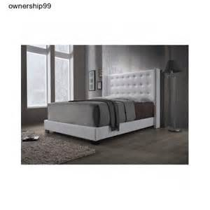 upholstered wingback bed white button tufted leather queen