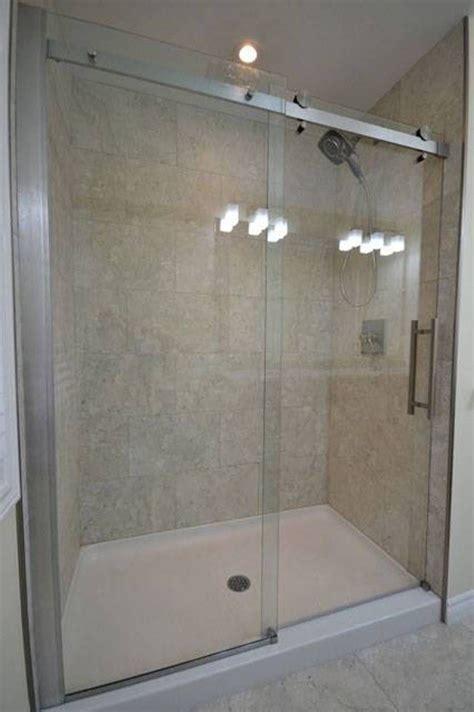 Bathroom Glass Door Ideas by Shower Pan With Sliding Glass Door In Bathroom Bathroom