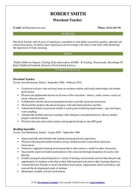 Resume Build Relationships by Preschool Resume Sles Qwikresume