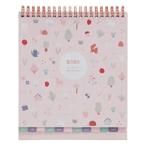 sweet desk calendar pale pink woodland calendars kikkik