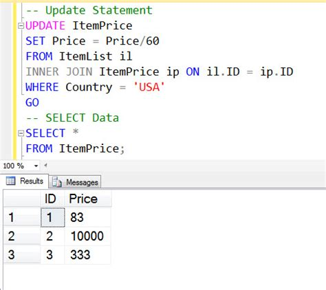 update sql join two tables sql server update from select statement with condition