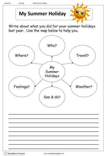 My Summer Holiday English Writing Worksheet – English ...