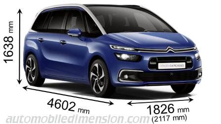 dimension grand c4 picasso citroen grand c4 picasso 2016 dimensions boot space and interior