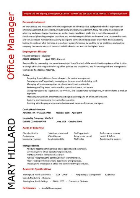 Office Manager Cv Exle by Office Manager Cv Sle