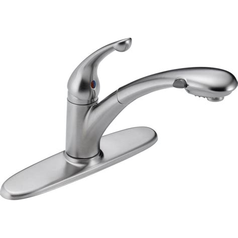 single handle pull out kitchen faucet delta signature single handle pull out sprayer kitchen