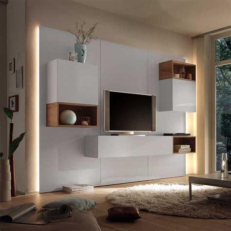Fernseherwand In Weiß Hochglanz Eiche Modern (9teilig