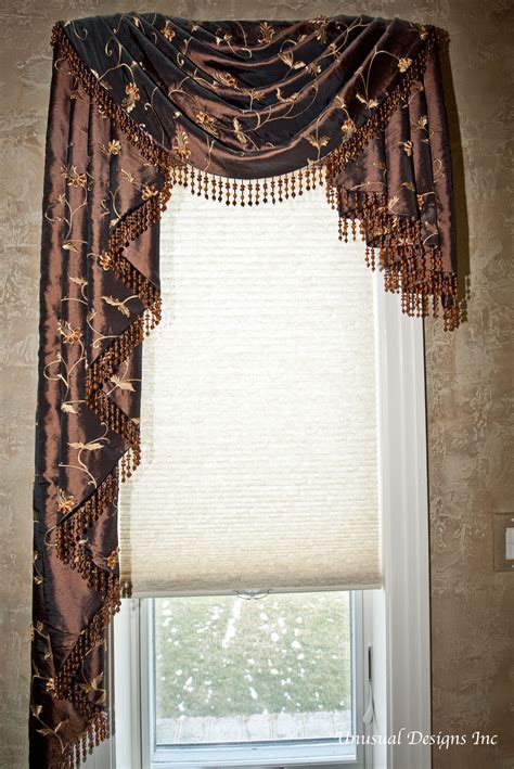 Valance Drapes Curtains by Asymmetrical Swag And Cascade Valance With Beaded Trim