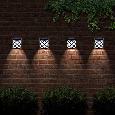 outdoor solar fence lights solar powered outdoor garden shed door fence wall 6 led 3880