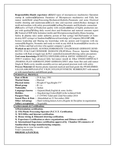 Plastic Injection Molding Machine Operator Resume by Plastic Processing Technician