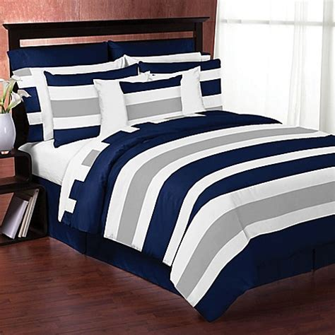 6068 navy blue and gray bedding sweet jojo designs navy and grey stripe bedding collection
