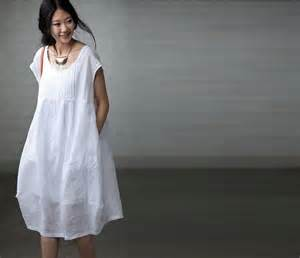 Loose Fitting White Linen Maxi Dress