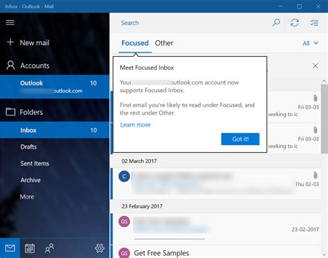 Office 365 Mail App For Windows by Enable Disable Focused Inbox Feature In Mail App In Windows 10