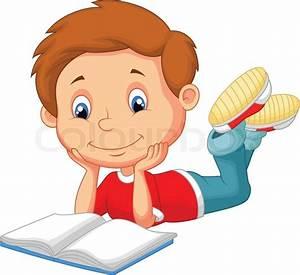 Vector illustration of Cute boy cartoon reading book ...