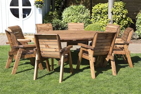 Wooden Patio Table And Chairs by 8 Seater Wooden Dining Table Set Garden Furniture