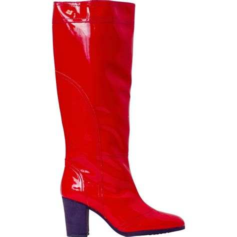 maria red shiny leather tall boots paolo shoes