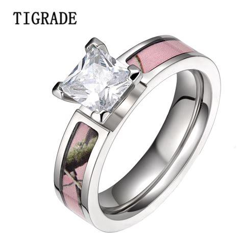 wedding rings bands 5mm pink tree camo cubic zirconia titanium rings 1017