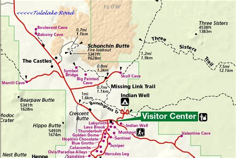 Lava Beds National Monument Map by S And S Turtle Bay Volcano Caves Images