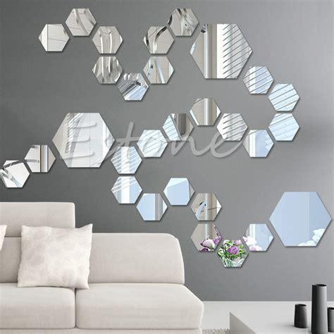 pcs  mirror decal hexagon vinyl removable wall sticker
