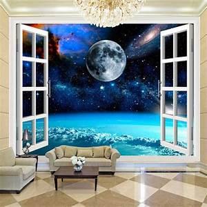 Poster Mural 3d : custom wall mural galaxy moon 3d poster photo wall paper bedroom living room wall decoration ~ Teatrodelosmanantiales.com Idées de Décoration