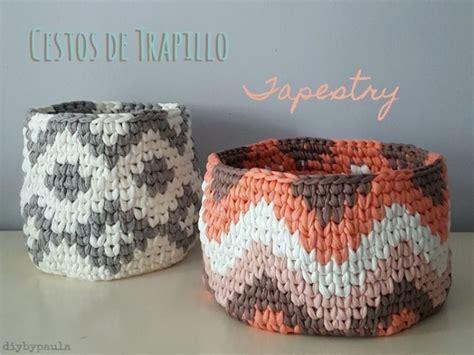 patron gratis crochet cestos de trapillo  tapestry