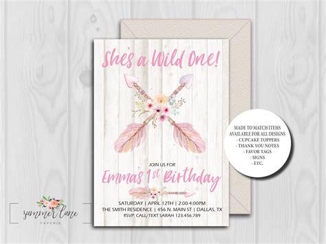 boho  birthday invitations shes  wild