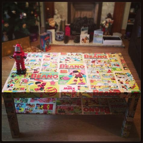 my vintage beano coffee table decoupage upholstery