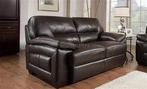 Trufflebrown Top Grain Leather Modern Sofa & Loveseat Set