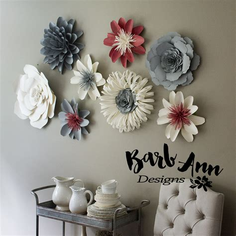 pink gray cream paper flower set barb ann designs