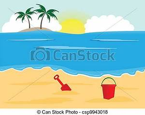 Vector of Vector - Sunny beach - Summer holiday background ...