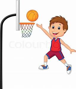 Vector illustration of Cartoon boy playing basket ball ...