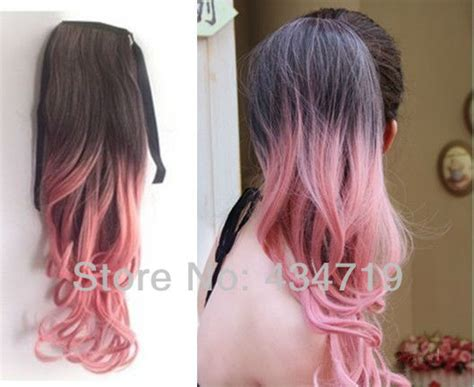 Party Funny Ombre Dip Dye Color Wrap Around Ponytail Wavy