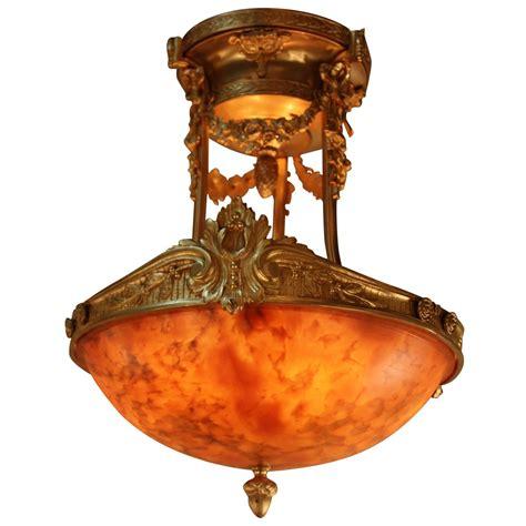 alabaster and bronze semi flush mount chandelier