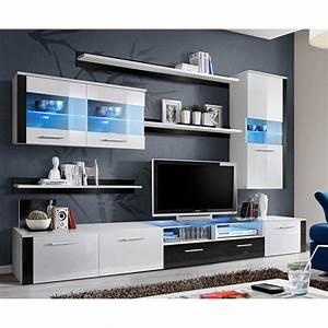 Meuble Tv 250 Cm : meuble tv mural design logo fresh 250cm blanc noir ~ Teatrodelosmanantiales.com Idées de Décoration