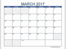 March 2017 Calendar Template blank calendar printable