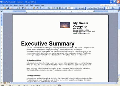executive summary templates  word excel