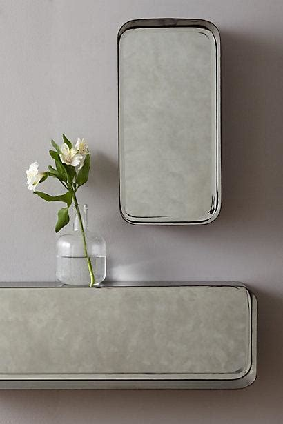 industrial antique silver mirror shelf