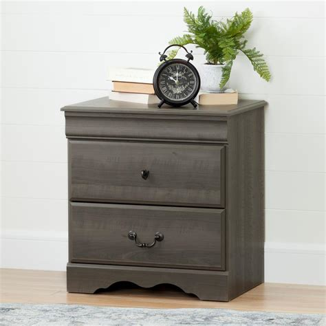 Maple Nightstands With Drawers by South Shore Vintage 2 Drawer Gray Maple Nightstand 10305