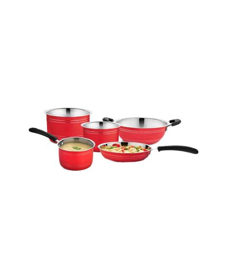 cookaid red stainless steel cookware set  pcs buy    price  india snapdeal