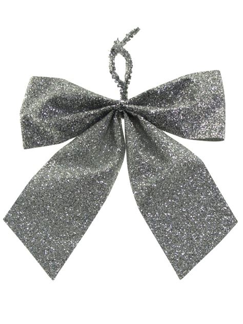 small silver bow decoration 6 x 80mm christmas