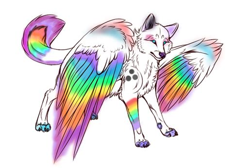 winged rainbow wolf adopt closed by zombicookie on