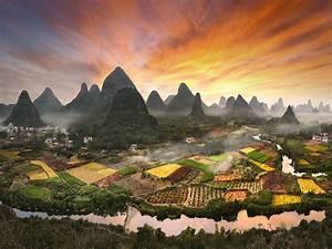 Village, Zhouzhai, China, Photo, Landscape, Sunset, Flaming, Sky