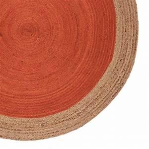 Tapis Rond Rouge : tapis rond orange contour beige en jut tiss la main ~ Teatrodelosmanantiales.com Idées de Décoration