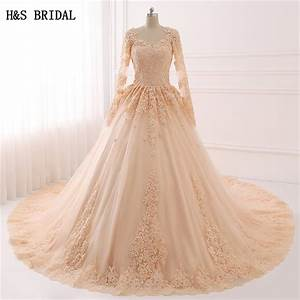 luxury cathedral train ball gown champagne lace wedding With robe longue paillettes strass